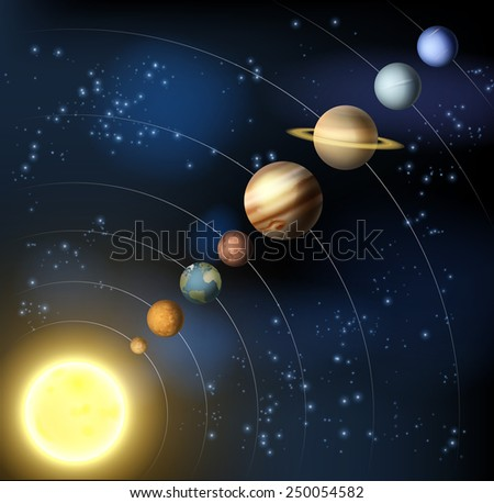 An illustration of the planets of our solar system in orbit aorund the sun. - stock vector