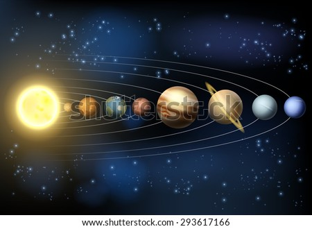 An illustration of the planets of our solar system orbiting the sun in outer space. - stock vector