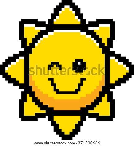 An illustration of the sun winking in an 8-bit cartoon style. - stock vector