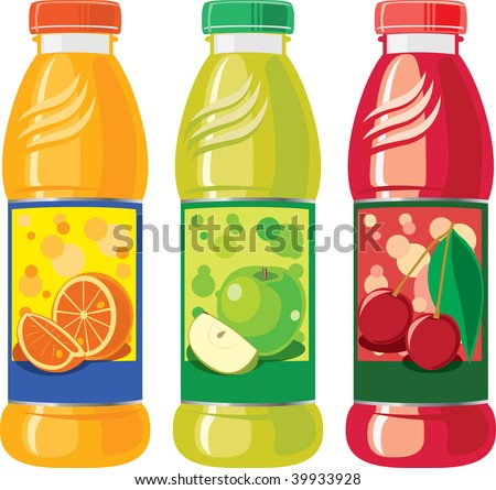 An illustration of three juice bottles - stock vector