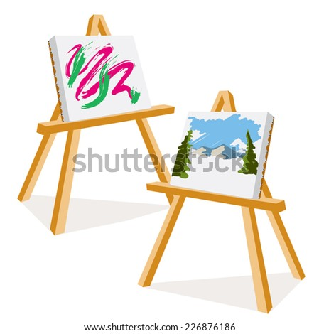 An Illustration of two easels with colorful paintings - stock vector