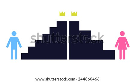 an illustration of unequal conditions for men and women in professional career - stock vector