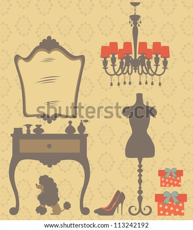 An illustration of vintage style dressing room - stock vector