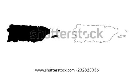 An Illustration on a White background of Puerto Rico - stock vector