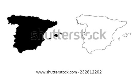 An Illustration on a White background of Spain - stock vector