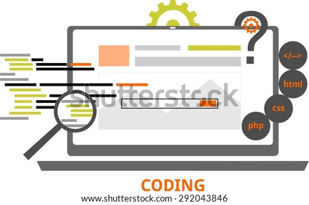 An illustration showing a coding concept - stock vector