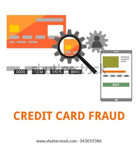 An illustration showing a credit card fraud concept - stock vector