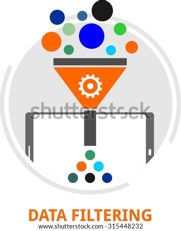 An illustration showing a data filtering concept - stock vector