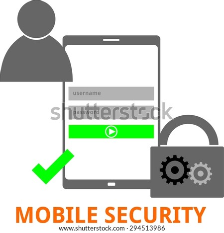 An illustration showing a mobile security concept - stock vector