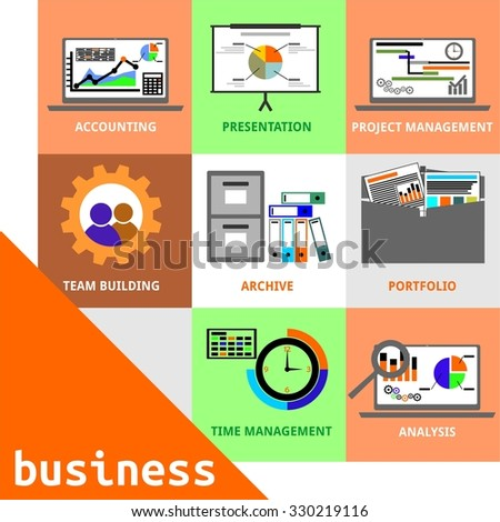 An illustration showing a set of business items - stock vector