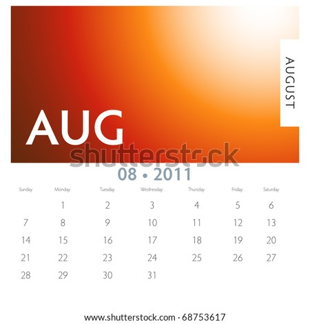 An image of a 2011 August calendar. - stock vector