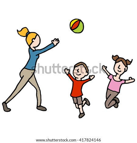 An image of a baby sitter playing ball with children - stock vector