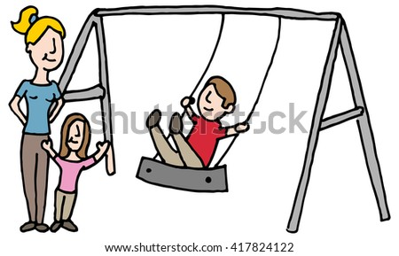 An image of a baby sitter with kids on swing set. - stock vector