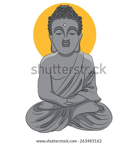An image of a buddha statue. - stock vector
