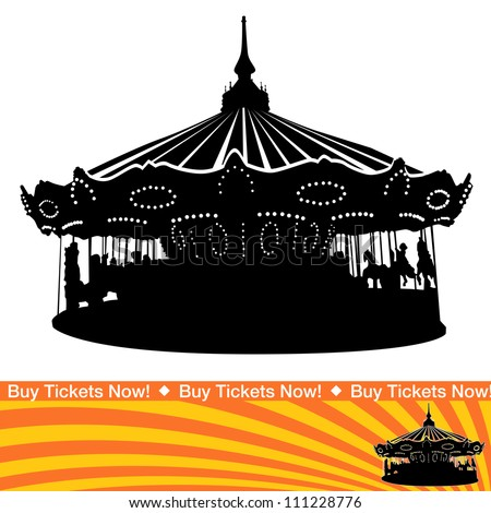 An image of a carousel ride silhouette. - stock vector
