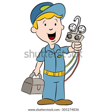 An image of a cartoon repairman. - stock vector