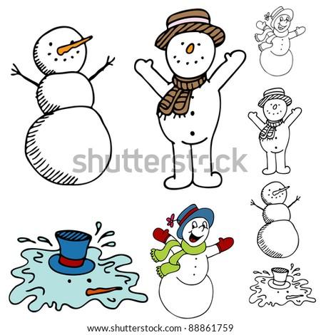 An image of a cartoon snowman set. - stock vector