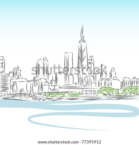 An image of a Chicago cityscape line drawing. - stock vector