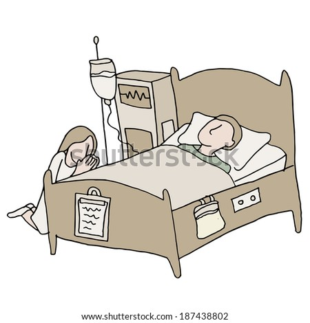 An image of a critically ill patient. - stock vector