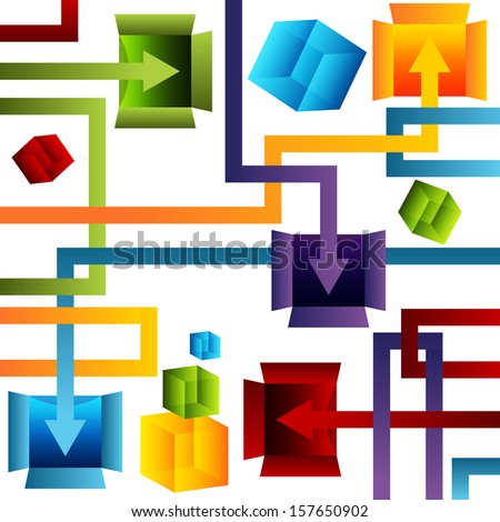 An image of a 3d container management chart. - stock vector