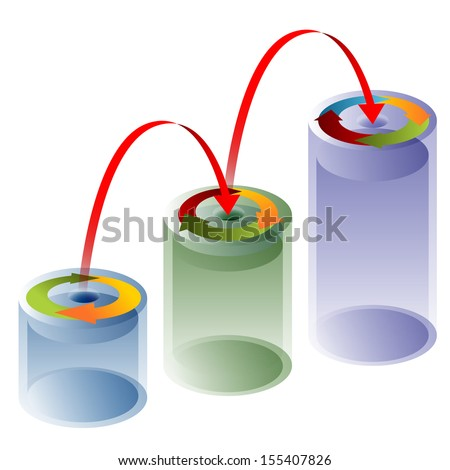 An image of a 3d process arrow tube chart. - stock vector