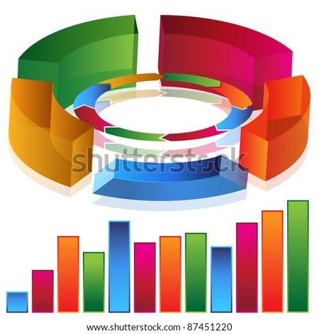 An image of a 3d productivity bar chart. - stock vector