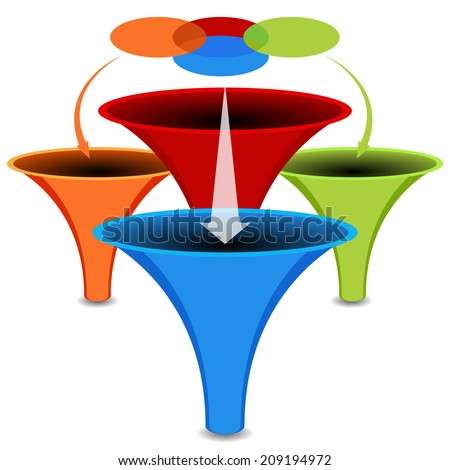 An image of a 3d venn diagram funnel chart. - stock vector