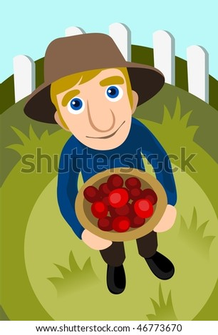 An image of a farmer holding a basket of tomatoes - stock vector