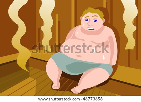 An image of a fat man sitting in the sauna and sweating it out - stock vector