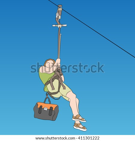 An image of a female zip line rider side view.