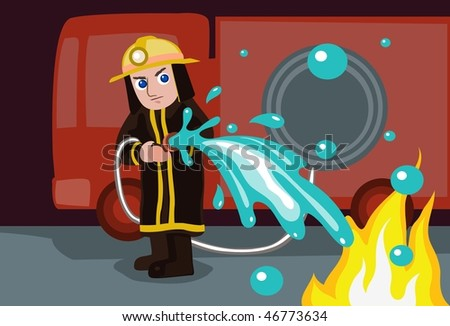 An image of a firefighter standing in front of the fire engine and putting out a blaze with hose - stock vector