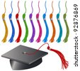 An image of a graduation cap and tassel set. - stock vector