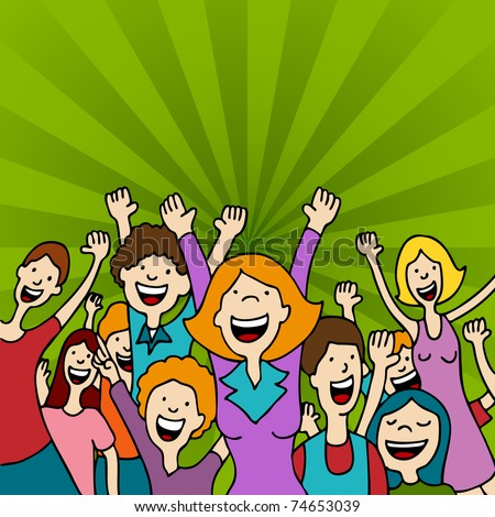 An image of a group of people amazed with arms raised. - stock vector