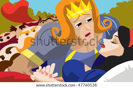 An image of a handsome young prince bending down to kiss Snow White's lifeless red lips while the seven dwarves are standing in the background - stock vector