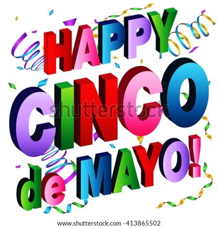 An image of a Happy Cinco de Mayo Message. - stock vector