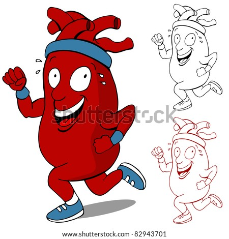An image of a healthy heart running cartoon character.