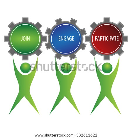 An image of a join engage participate people team. - stock vector