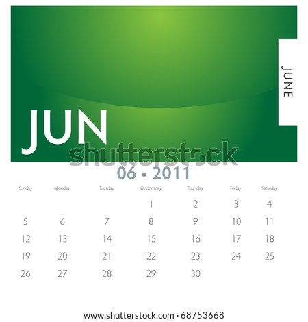 An image of a 2011 June calendar. - stock vector