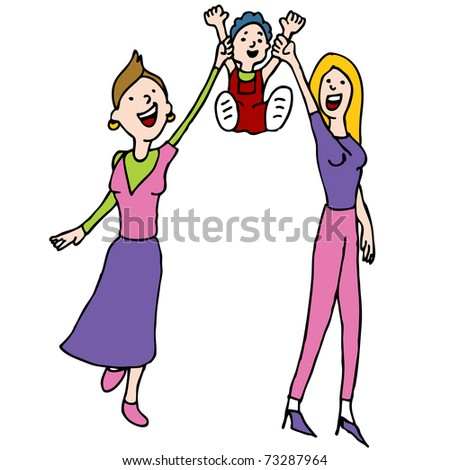 An image of a lesbian couple with their adopted child. - stock vector