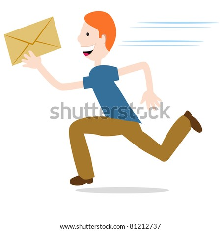 An image of a man delivering an urgent envelope. - stock vector