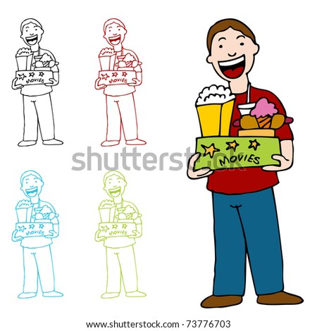 An image of a man holding a box of movie theater food. - stock vector