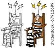 An image of a man in an electric chair. - stock photo