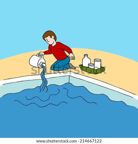 An image of a man using pool chemicals. - stock vector