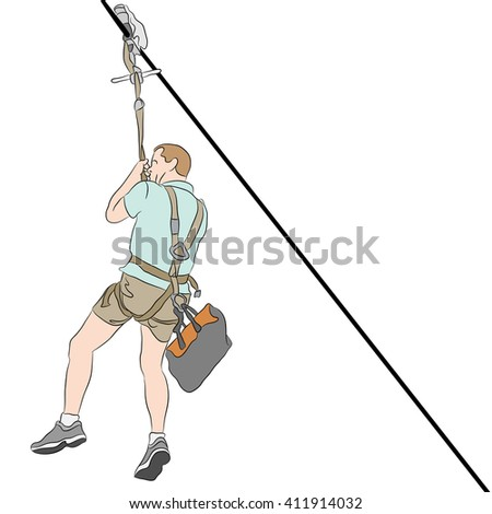 An image of a man wearing shorts  riding on a zip line.