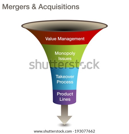 An image of a mergers and acquisitions 3d chart. - stock vector