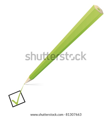 An image of a nice green pencil checking - stock vector