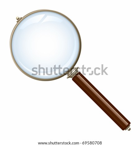 An image of a nice old magnifying glass - stock vector