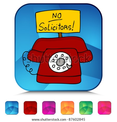 An image of a no solicitors telephone mosaic crystal button set.