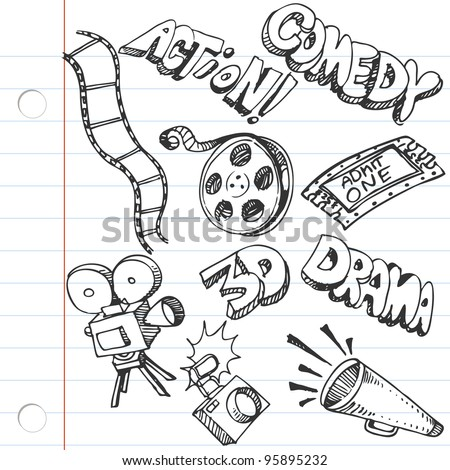 An image of a notebook paper entertainment doodles. - stock vector