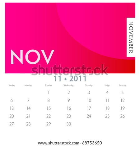 An image of a 2011 November calendar. - stock vector